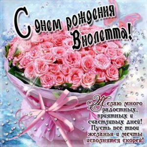 Виола Днем рождения мерцающая открытка. Букет, розы, букет из роз, красные розы, с надписью, фразы, Виолетта, красивая картинка, розовые розы.