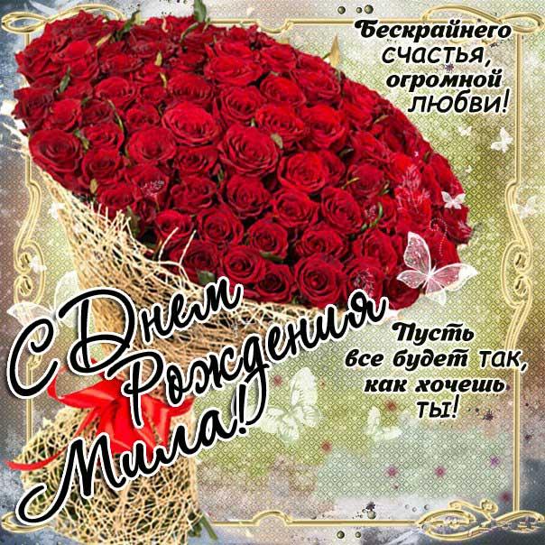 Открытка День рождения Мила. Розы, букет, красные розочки, со словами, сияние, мигающие, стихи, картинки поздравительные, большой букет.