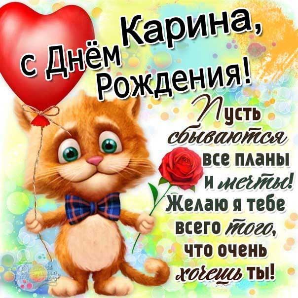 С днем рождения Карина картинки. Поздравление, надпись, стих, мультяшка, кот с шаром, роза, позитивная.