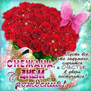 С Днем рождения Снежана открытка. Розы, букет роз, подарок, красивая надпись, со стихом, мигающая, картинки, бабочки.